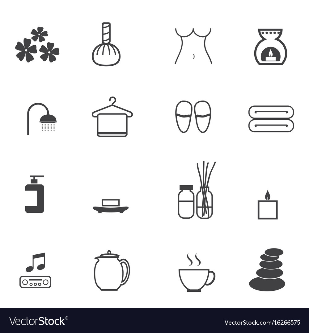 Spa massage icons set vector image
