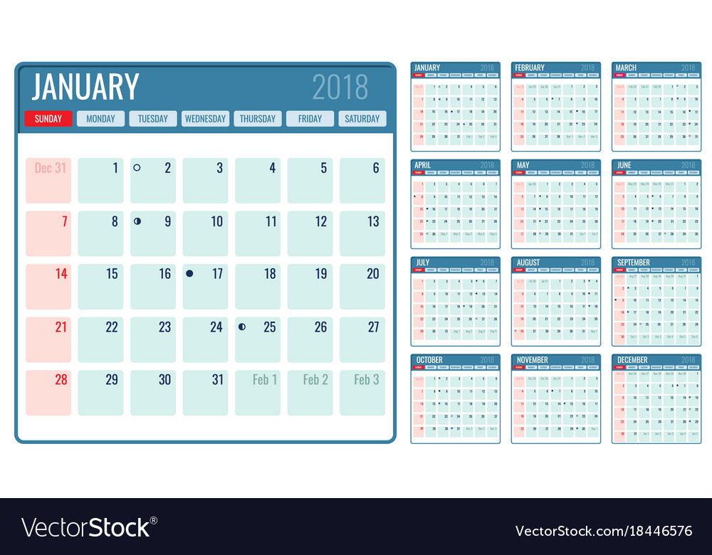Weekly Calendar Vector : Monthly calendar template year royalty free vector