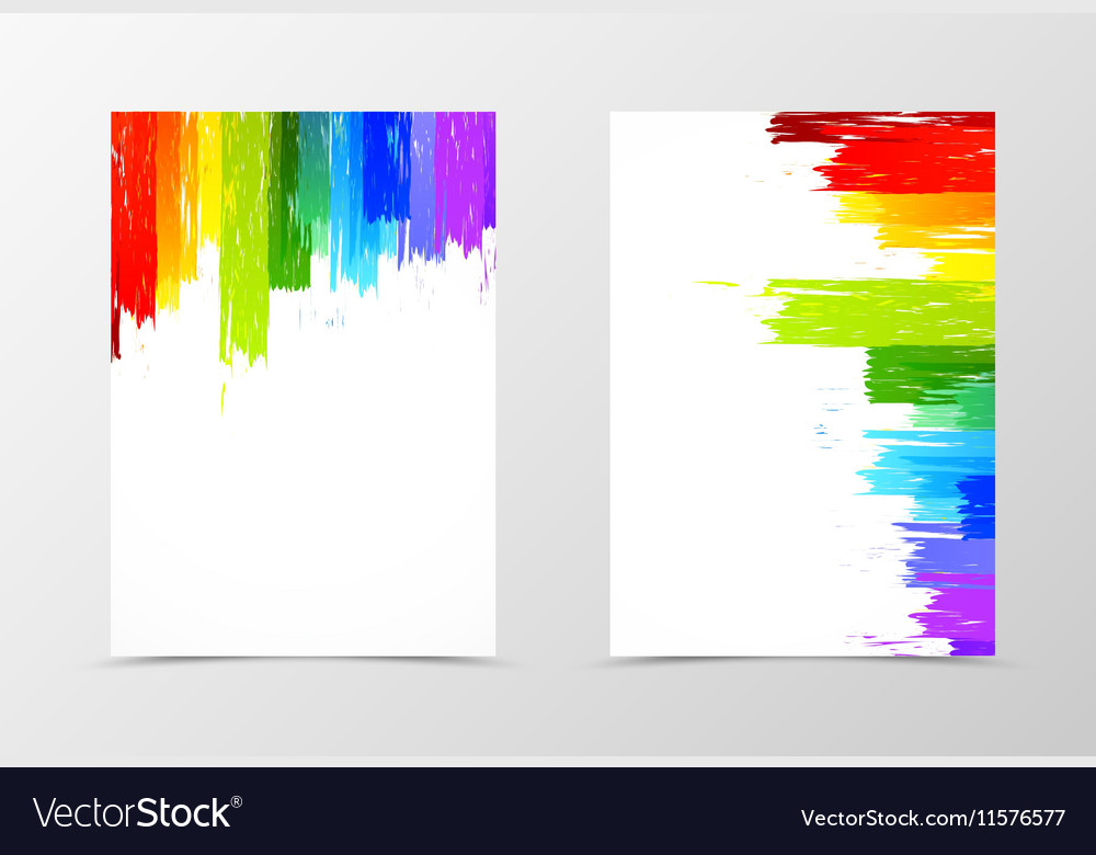 front and back rainbow flyer template design vector image