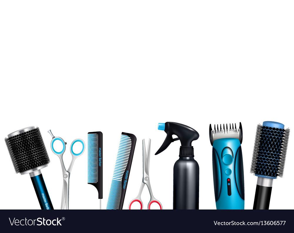 Hairdresser tools background vector image