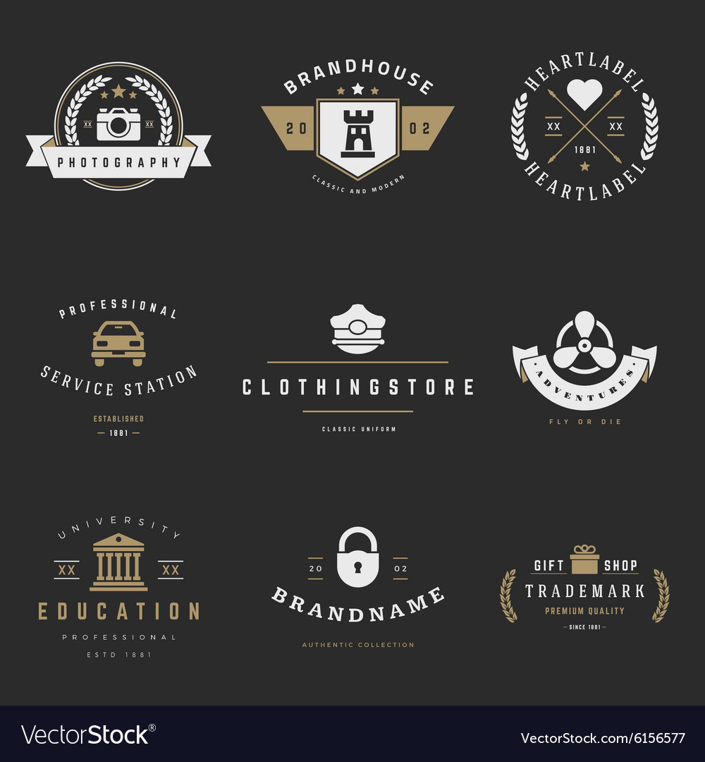 Retro Logotypes set Vintage graphics vector image
