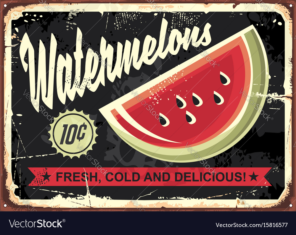 Watermelons retro advertise vector image
