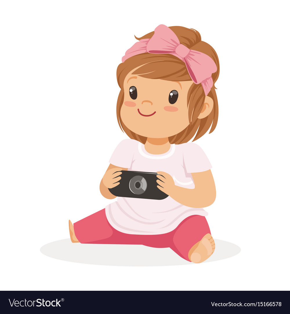 Cute little girl sitting on the floor and playing vector image