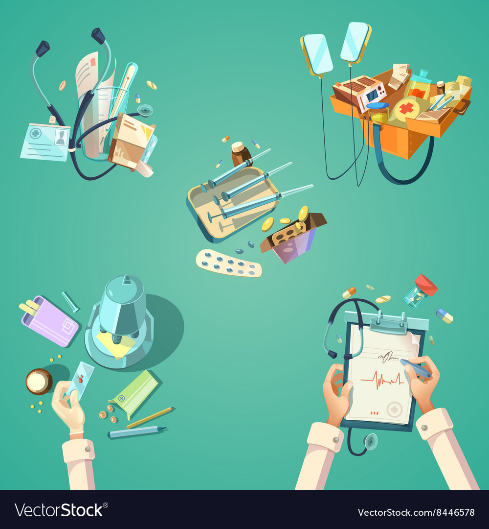 Medical cartoon retro set vector image