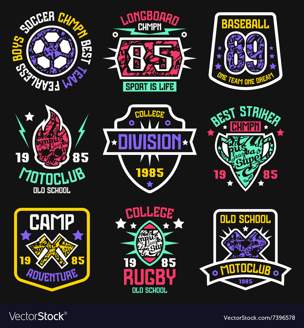 Design t shirts graphic - Sport Badges Graphic Design For T Shirt Vector Image