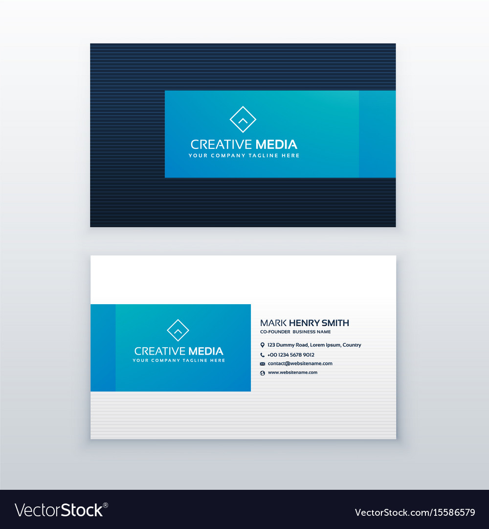 Blue elegant business card design template Vector Image
