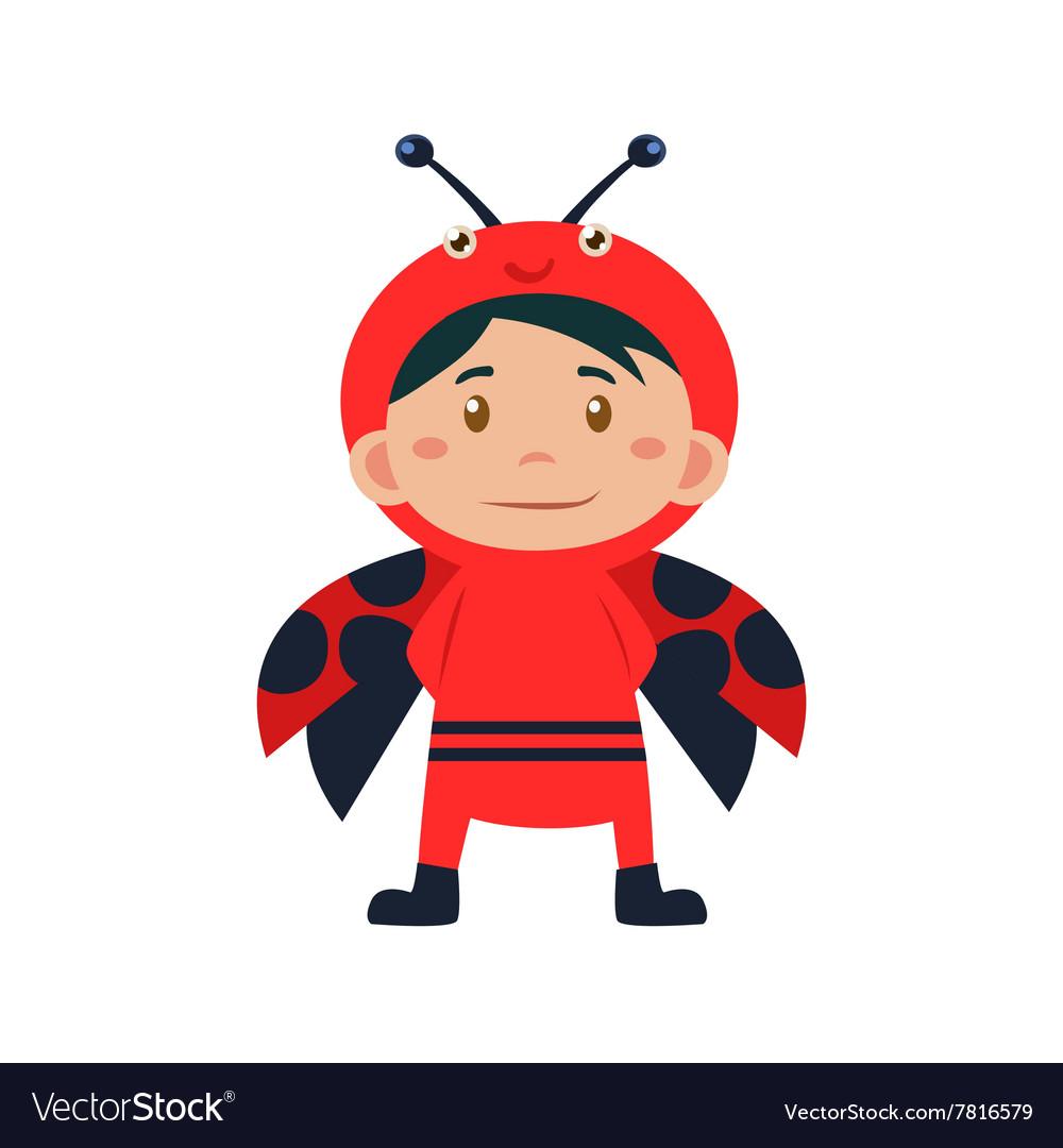 Child Wearing Costume of Ladybird vector image