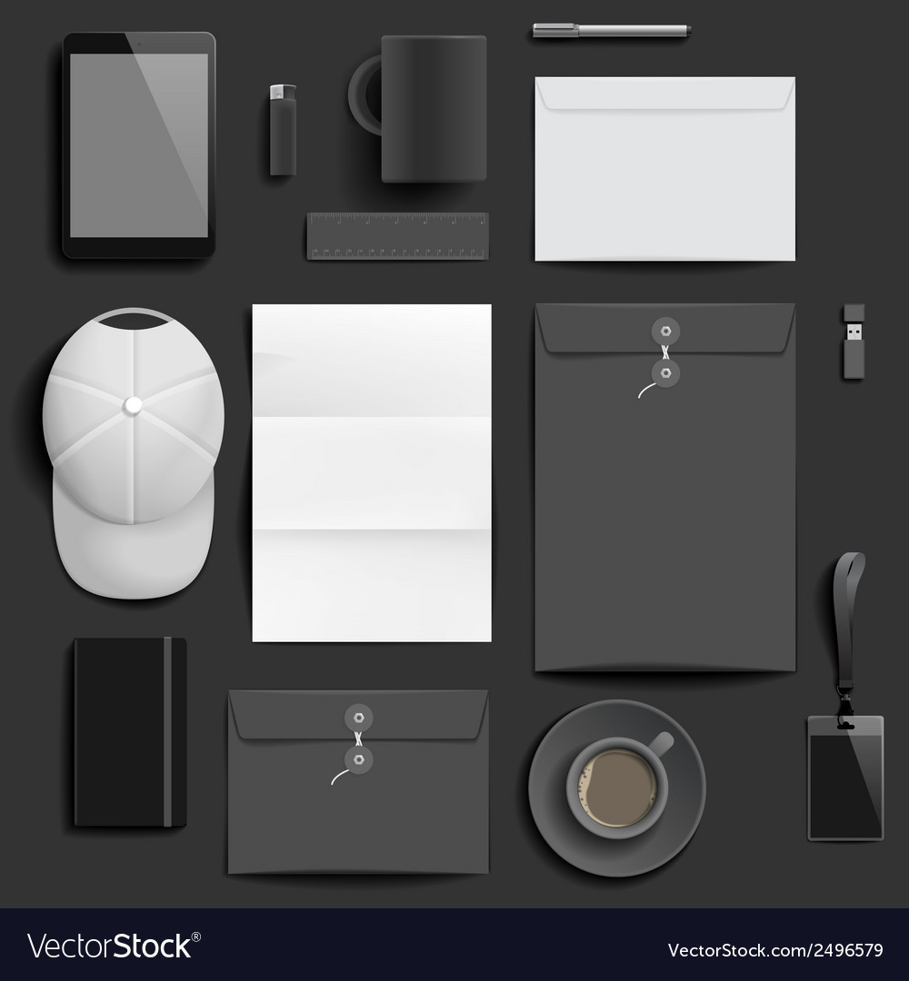 corporate identity mockup template royalty free vector image, Powerpoint templates