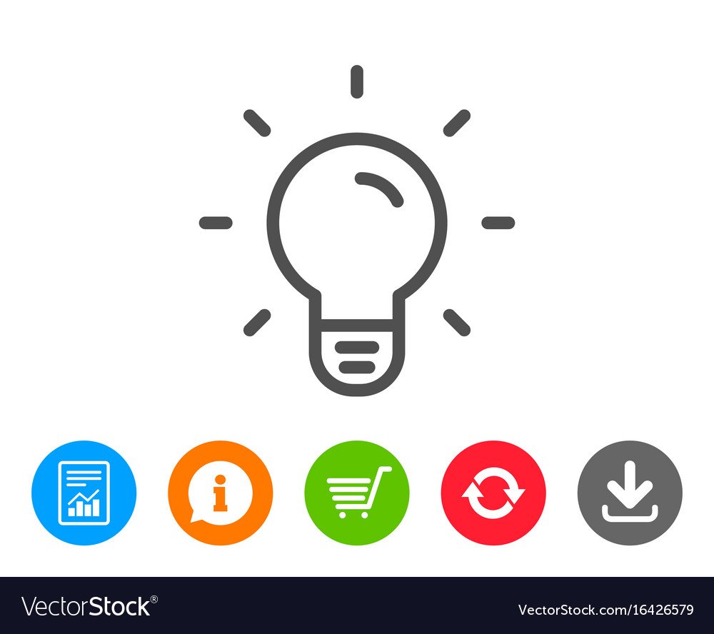 Light bulb line icon lamp sign vector image