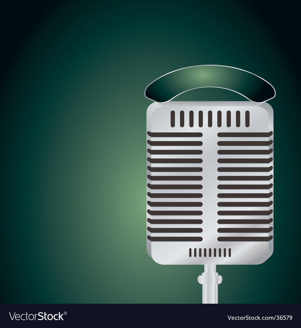 Microphone green vector image