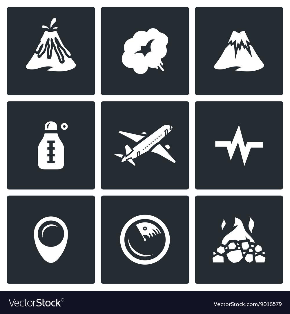 Set of Volcano Icons Eruption Smoke Hill vector image