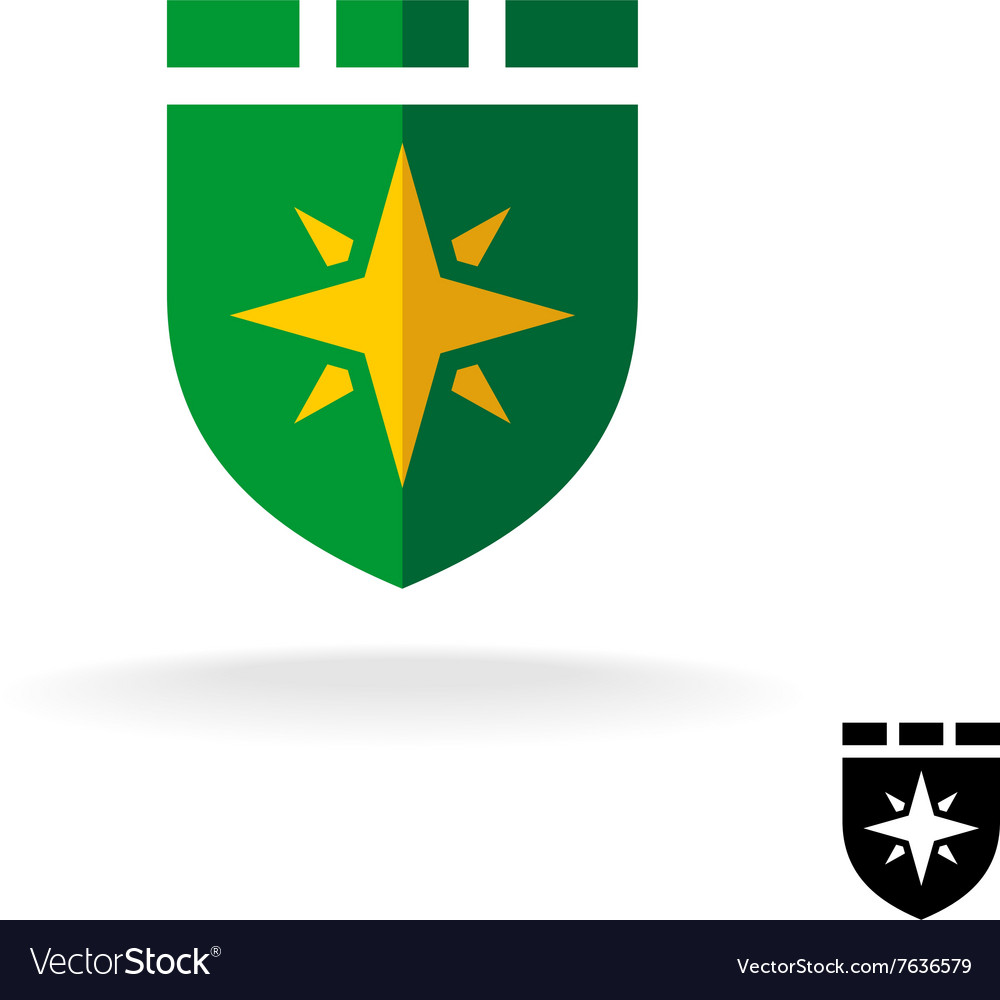 Shield logo with four rays sign Flat design style vector image