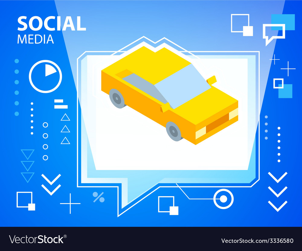 Bright speech bubble and car on blue backgro vector image