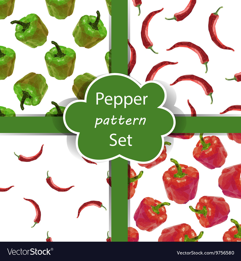 Seamless pattern set with peppers vector image