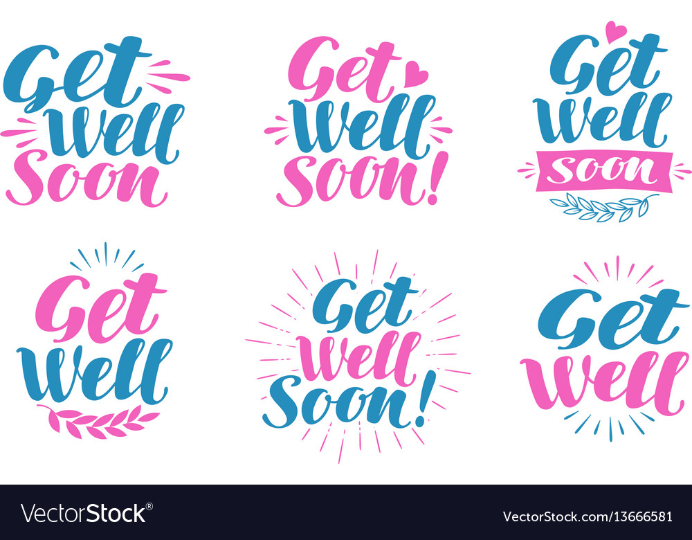 Get well soon greeting card visiting sick vector image