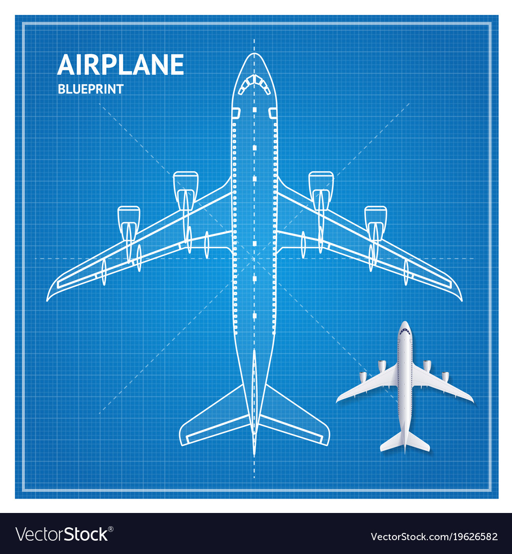 Airplane blueprint plan top view royalty free vector image airplane blueprint plan top view vector image malvernweather Choice Image