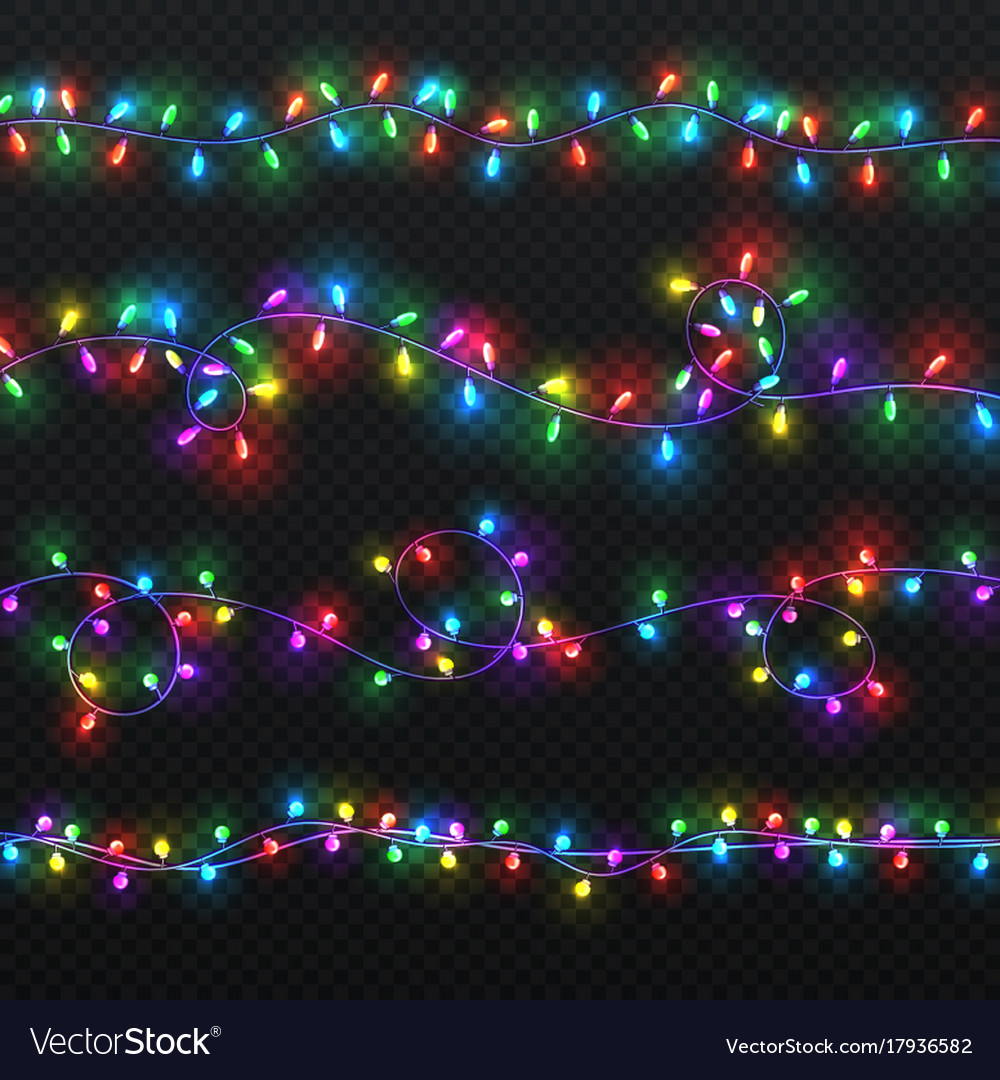 Christmas light garlands xmas decoration vector image