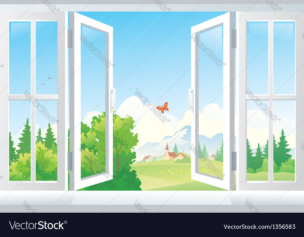 Open window royalty free vector image vectorstock for Window design clipart