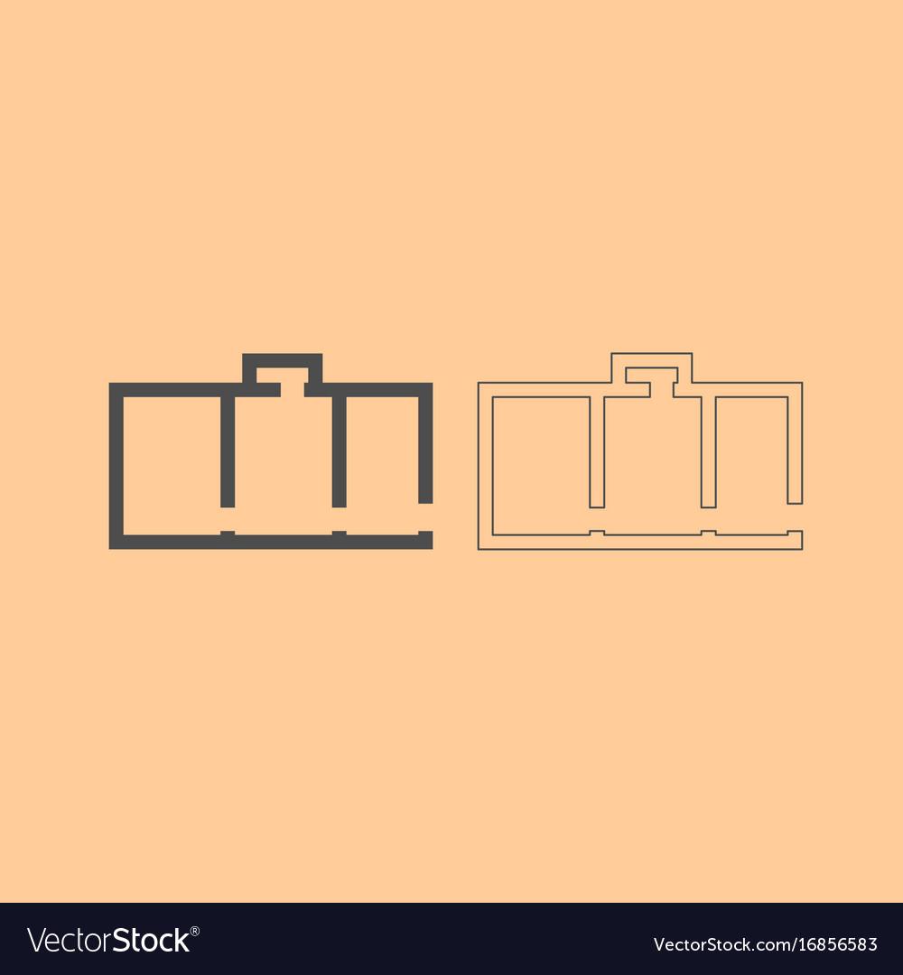 Apartment plan dark grey set icon vector image