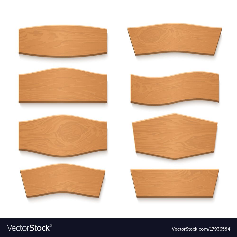 Cartoon wooden brown plate empty banners vector image