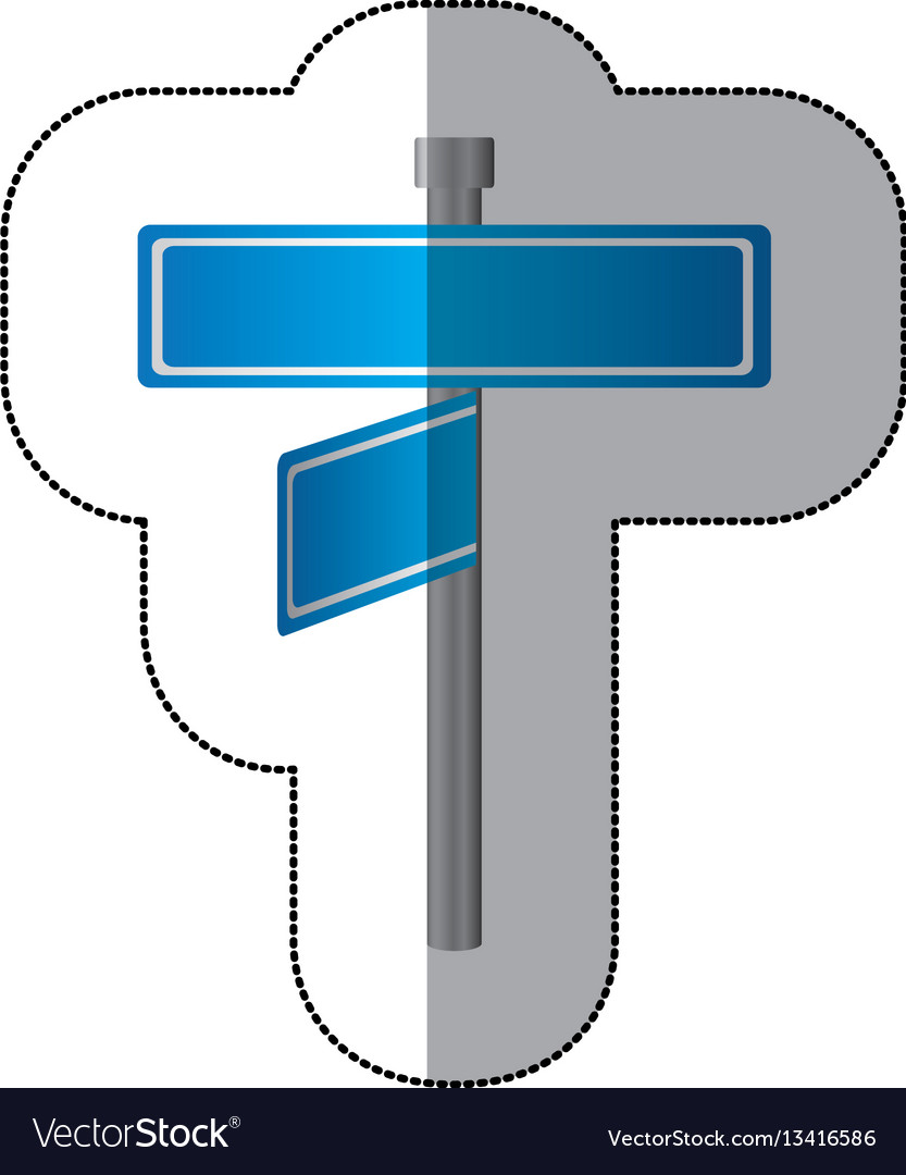 Blue metal sign boards with two directions icon vector image