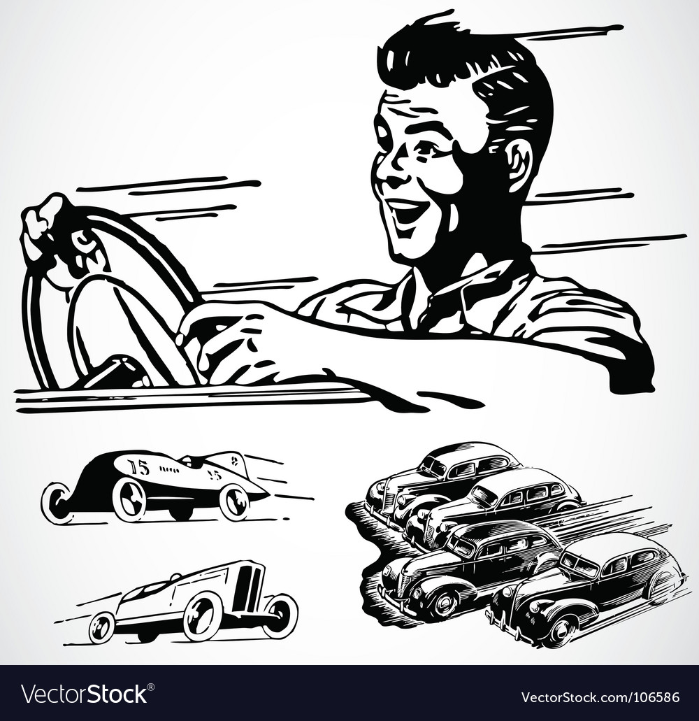 Retro car graphics vector image