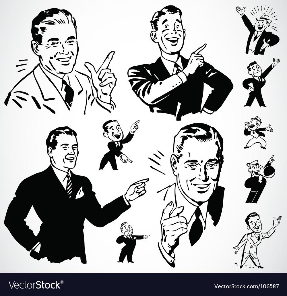 Retro men pointing vector image