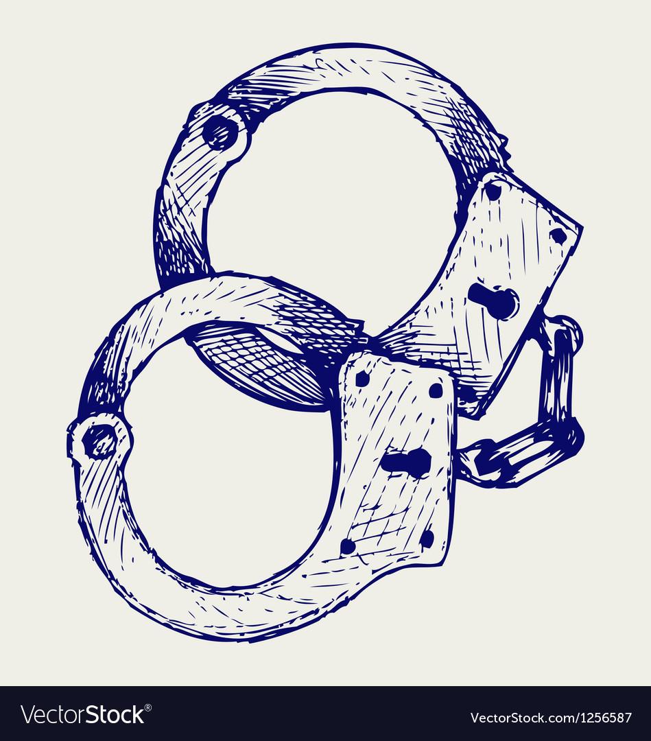 Metallic handcuffs vector image