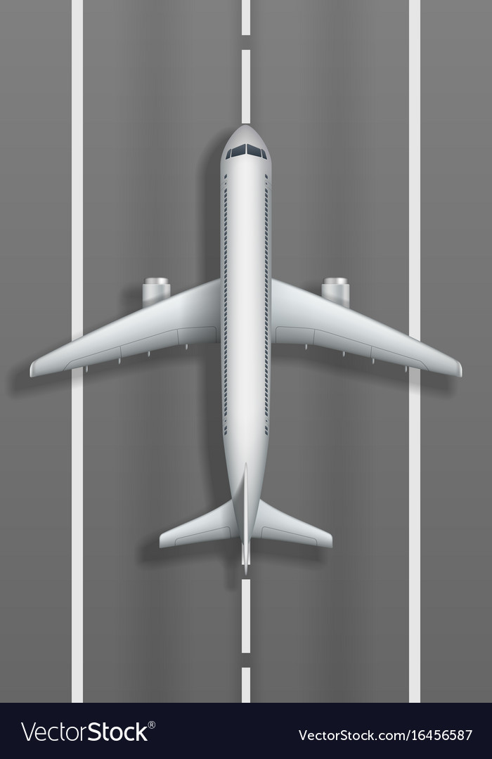 Airstrip with white airplane plane mockup top vector image
