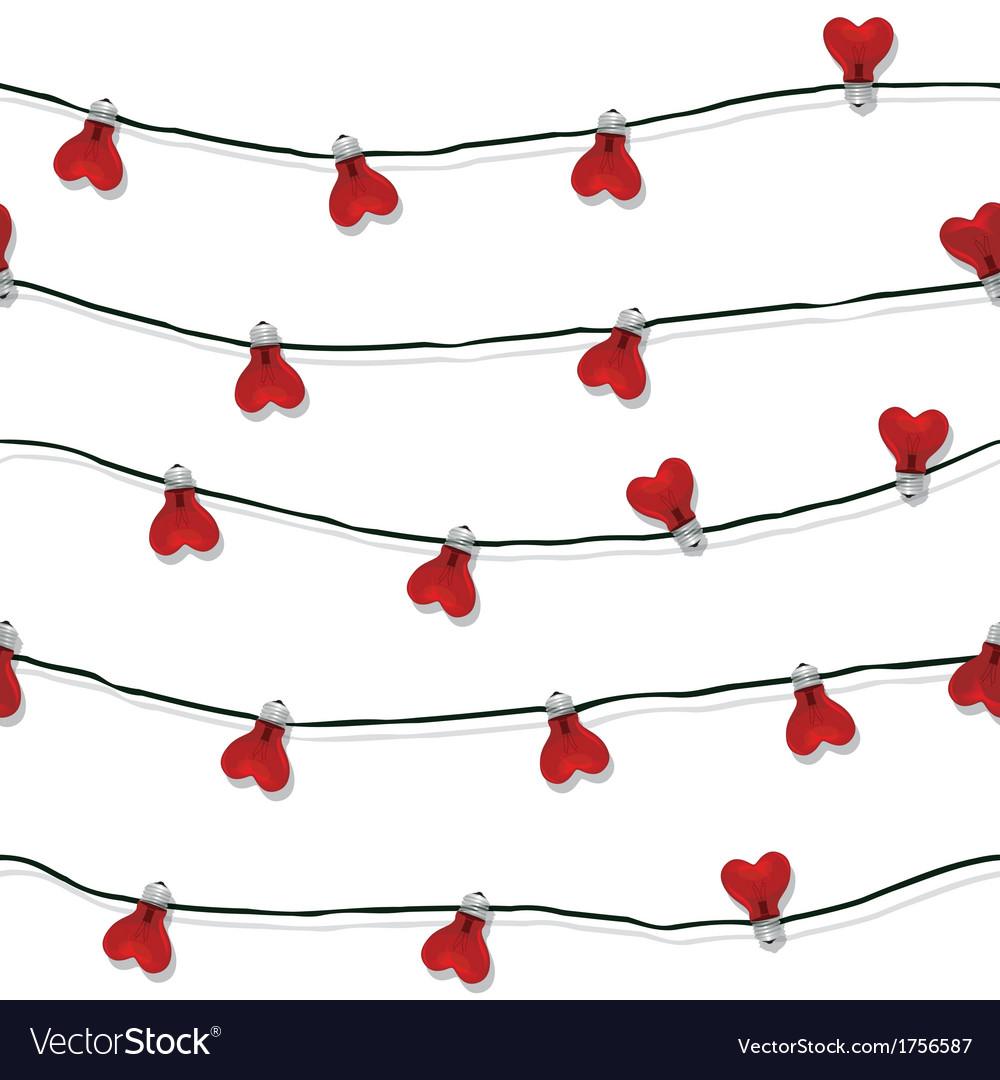 Heart seamless love light bulb wedding vector image