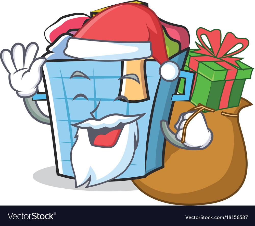Santa Laundry Basket Character Cartoon Vector Image