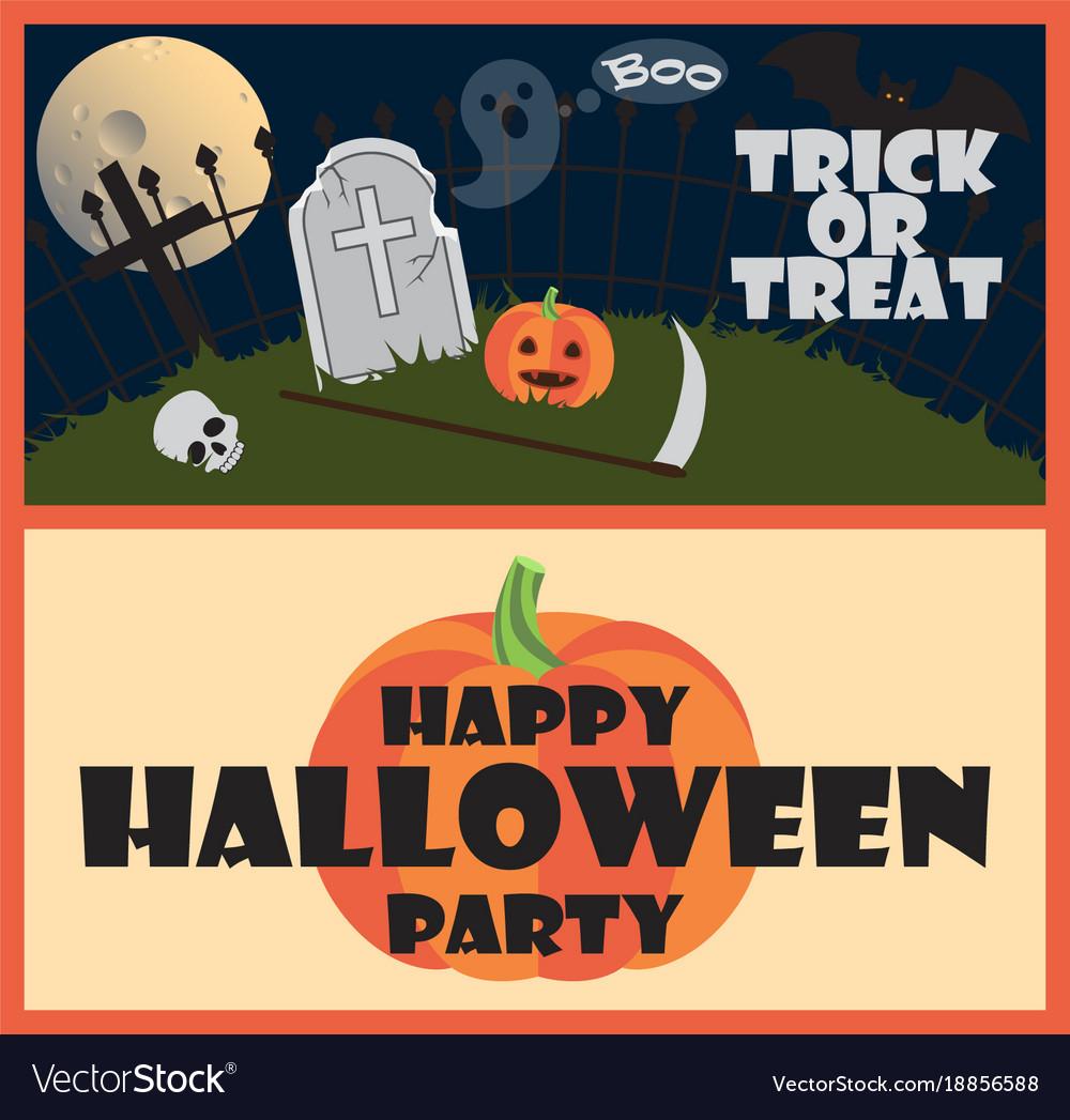 Trick or treat happy halloween party wish vector image
