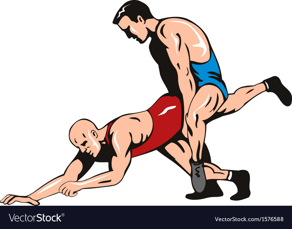 Wrestlers Fighting Retro vector image