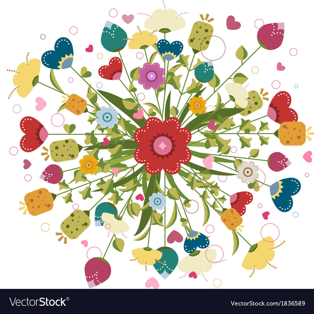 Colorful bouquet made of flowers vector image