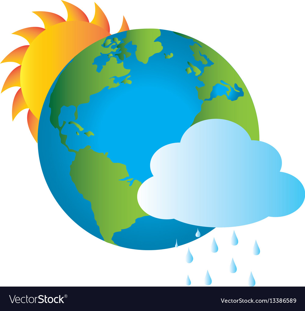Colorful earth world map with rainy cloud and sun vector image colorful earth world map with rainy cloud and sun vector image gumiabroncs Choice Image