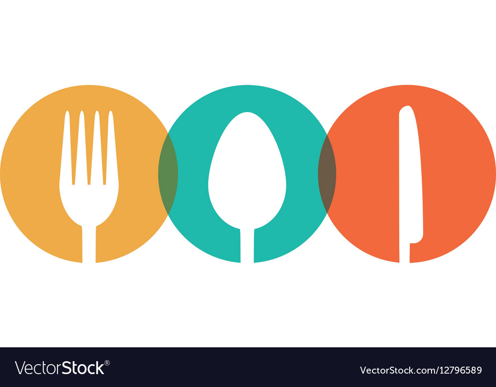 Fork spoon knife utensil kitchen badge vector image