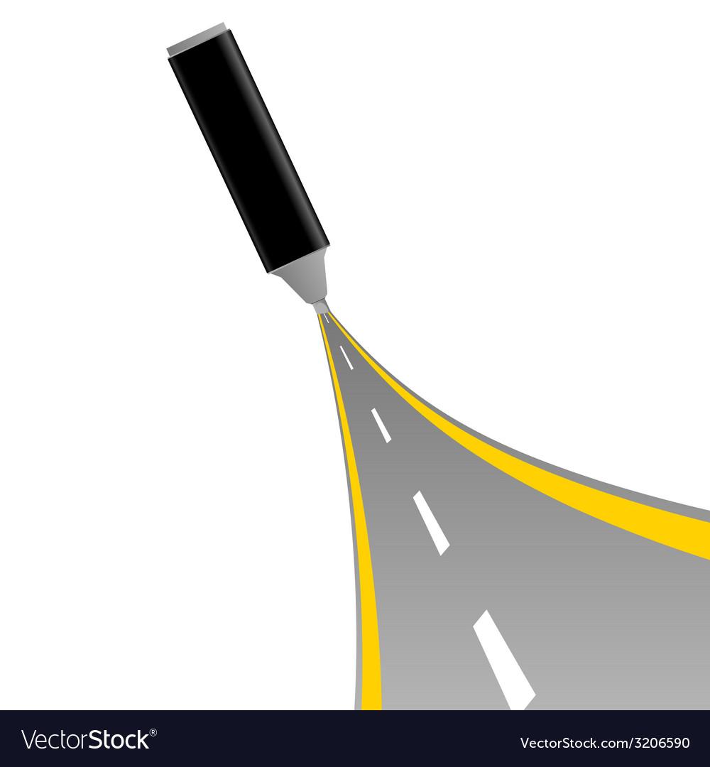Gray felt pen with road vector image