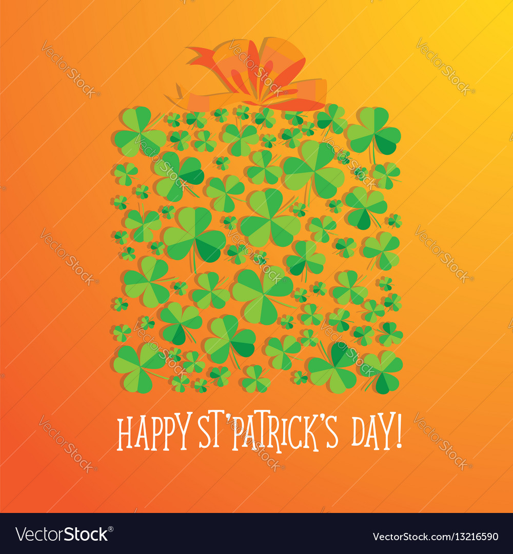 Happy saint patrick s day scatter shamrock card vector image