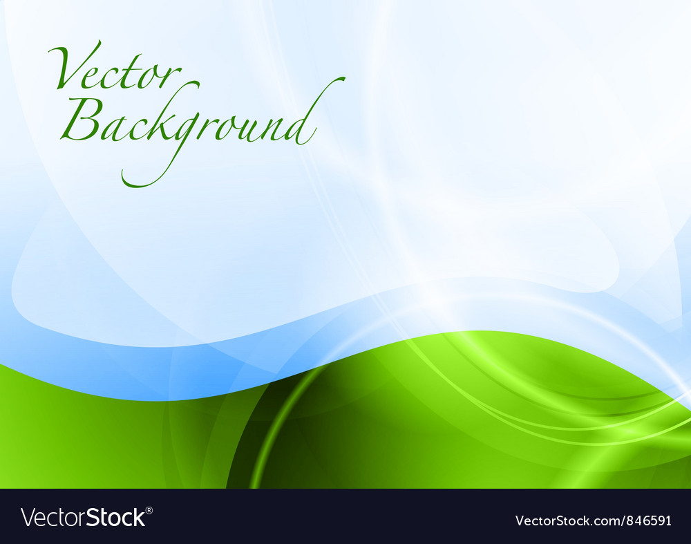 Background abstract green and blue wave text vector image