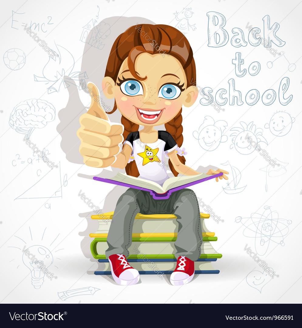 Joyful schoolgirl reading a book vector image