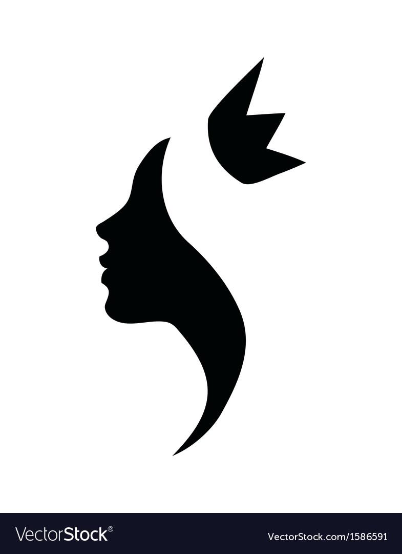 Princess profile black silhouette vector image
