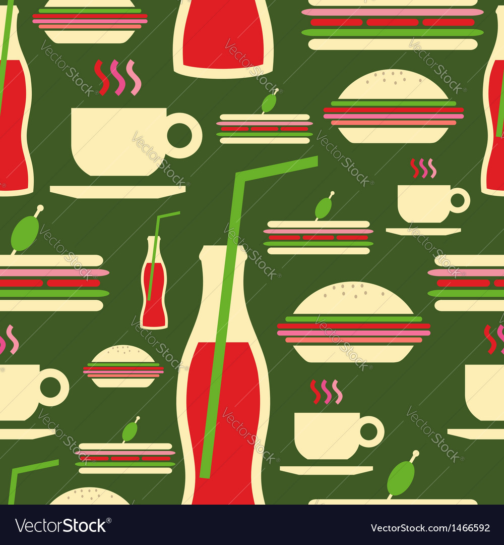 Grunge fast food icons set pattern vector image