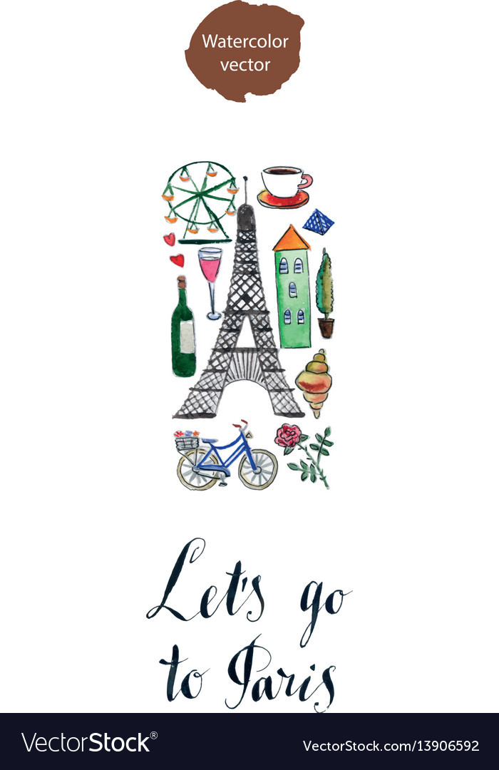 Lets go to paris vector image