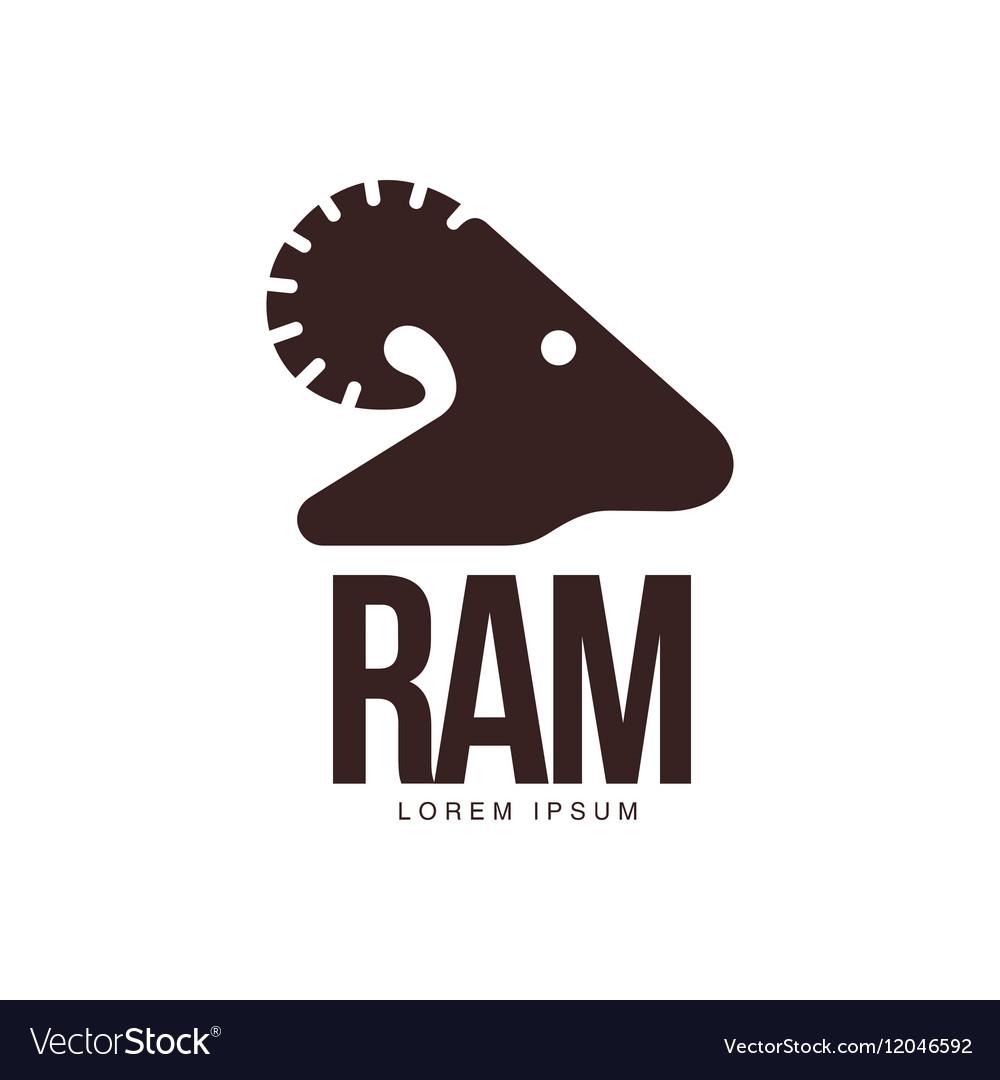Ram sheep lamb head silhouette graphic logo vector image
