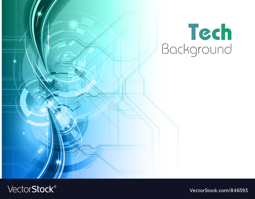 Background line wave light tech turquoise vector image
