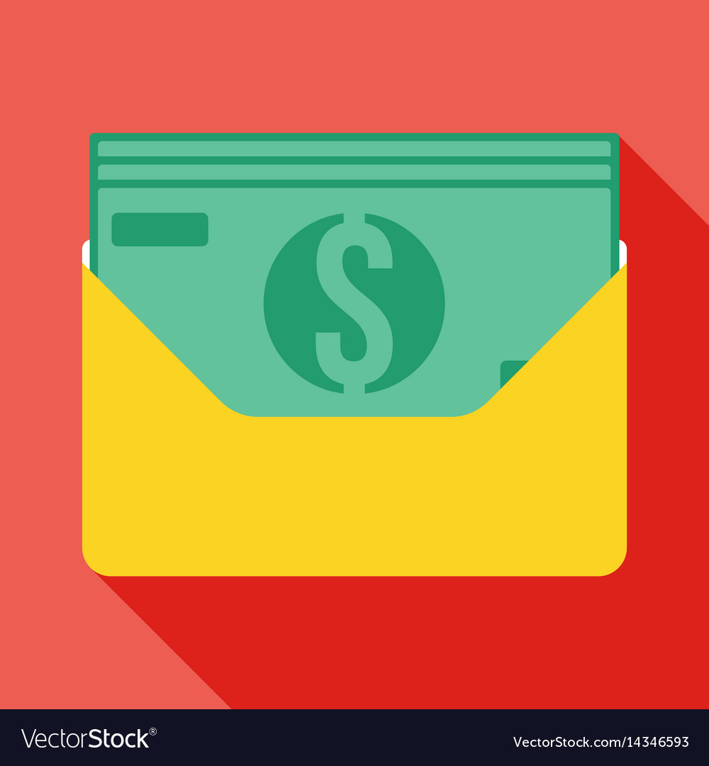 Money in an envelope icon vector image