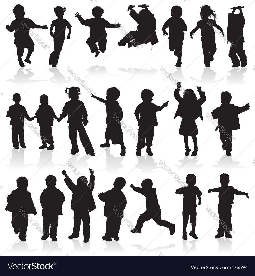 silhouette girls and boys vector image