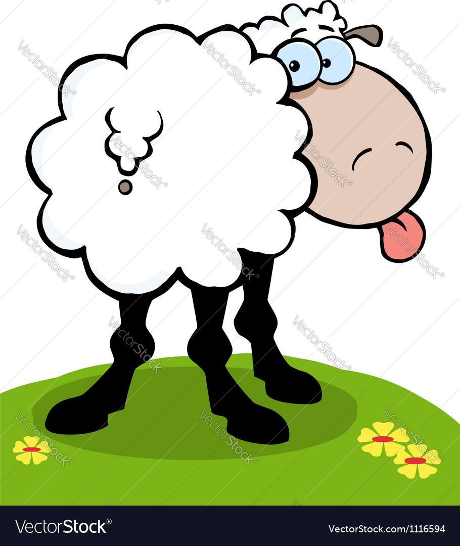 Cartoon Sheep Sticking Out His Tongue vector image
