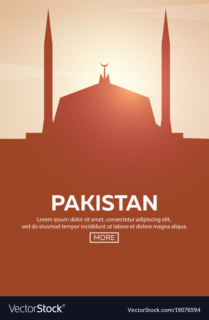 Travel poster to pakistan landmarks silhouettes vector image