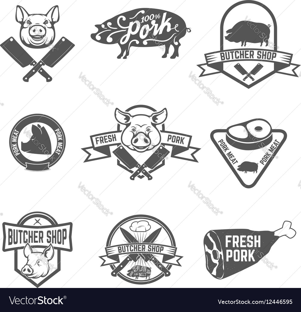 Set of butcher shop fresh pork labels vector image